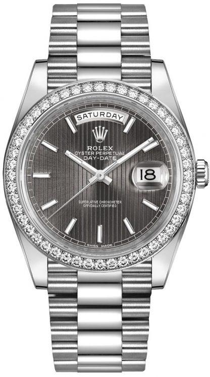 repliche Orologio da uomo Rolex Day-Date 40 quadrante rodio scuro da uomo 228349RBR