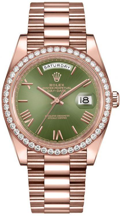 repliche Orologio da uomo Rolex Day-Date 40 quadrante verde oliva 228345RBR