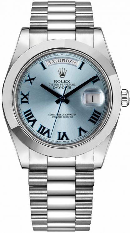 repliche Orologio da uomo Rolex Day-Date 41 quadrante blu ghiaccio platino 218206