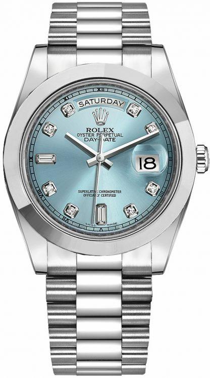 repliche Orologio da uomo Rolex Day-Date 41 quadrante in diamante blu ghiaccio platino 218206