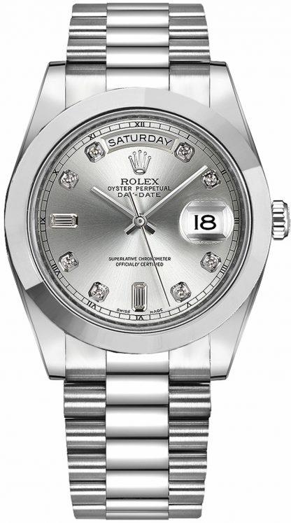 repliche Orologio da uomo Rolex Day-Date 41 quadrante in platino con diamanti in argento 218206
