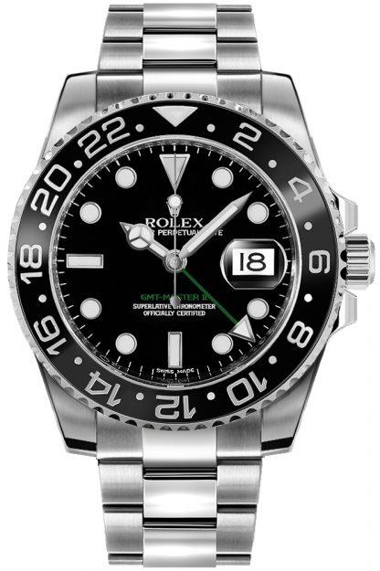 repliche Orologio da uomo Rolex GMT-Master II quadrante nero Oystersteel 116710LN