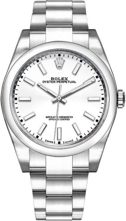 repliche Orologio da uomo Rolex Oyster Perpetual 39 quadrante bianco 114300