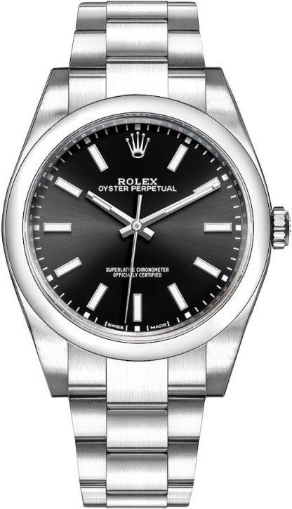 repliche Orologio da uomo Rolex Oyster Perpetual 39 quadrante nero 114300
