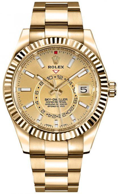 repliche Orologio da uomo Rolex Sky-Dweller Champagne con quadrante in oro 326938