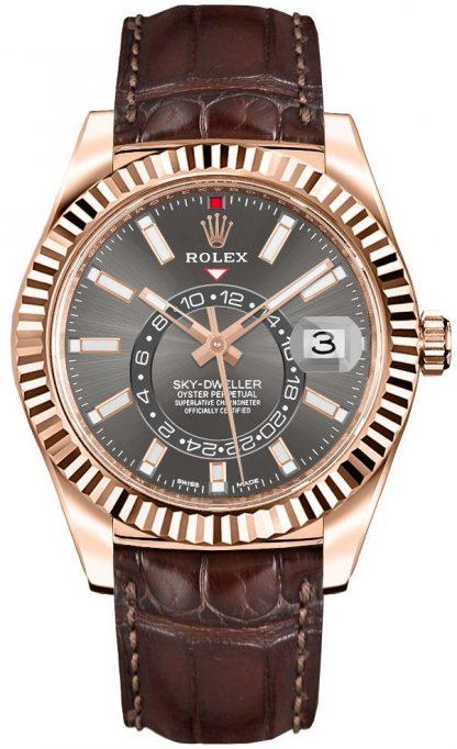repliche Orologio da uomo Rolex Sky-Dweller con cinturino in pelle 326135