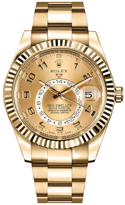 repliche Orologio da uomo Rolex Sky-Dweller in oro 326938