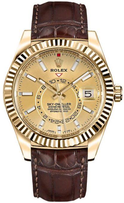 repliche Orologio da uomo Rolex Sky-Dweller in oro giallo 326138