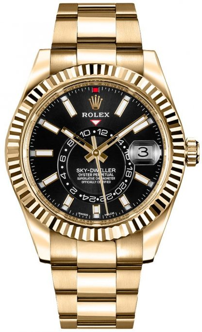 repliche Orologio da uomo Rolex Sky-Dweller in oro giallo con quadrante nero 326938