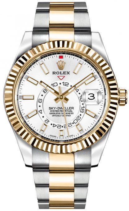 repliche Orologio da uomo Rolex Sky-Dweller quadrante bianco 326933