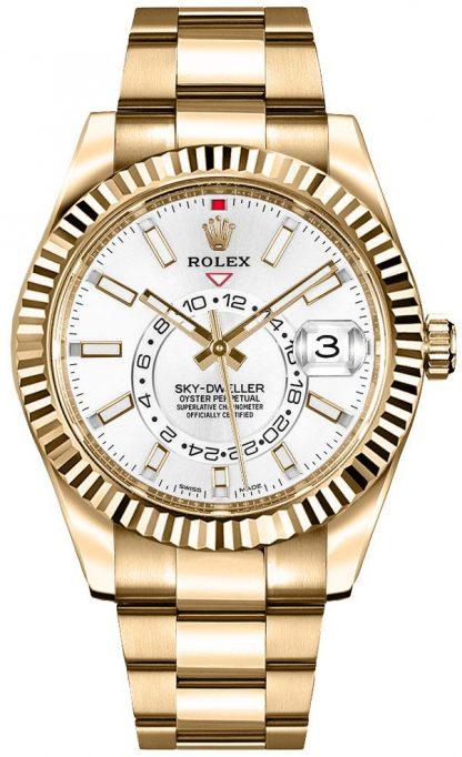 repliche Orologio da uomo Rolex Sky-Dweller quadrante bianco oro 326938
