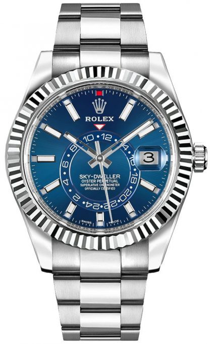 repliche Orologio da uomo Rolex Sky-Dweller quadrante blu 42mm lusso 326934