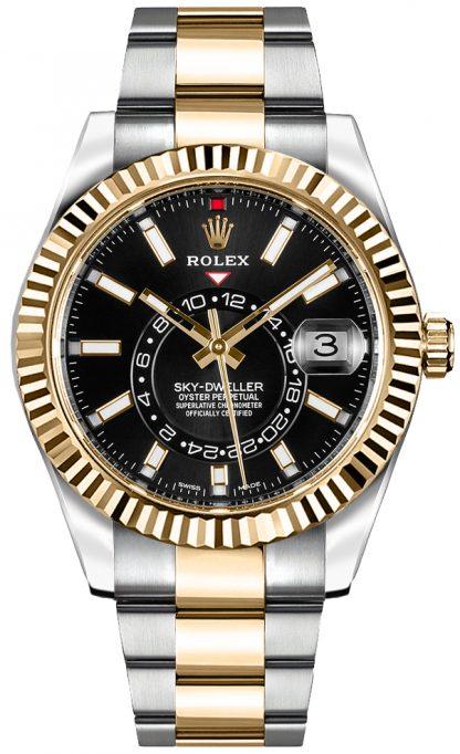 repliche Orologio da uomo Rolex Sky-Dweller quadrante nero 326933