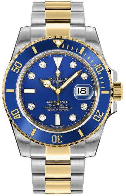 repliche Orologio da uomo Rolex Submariner Date quadrante blu 116613
