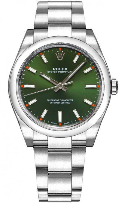 repliche Orologio di lusso Rolex Oyster Perpetual 34 quadrante verde di lusso 114200