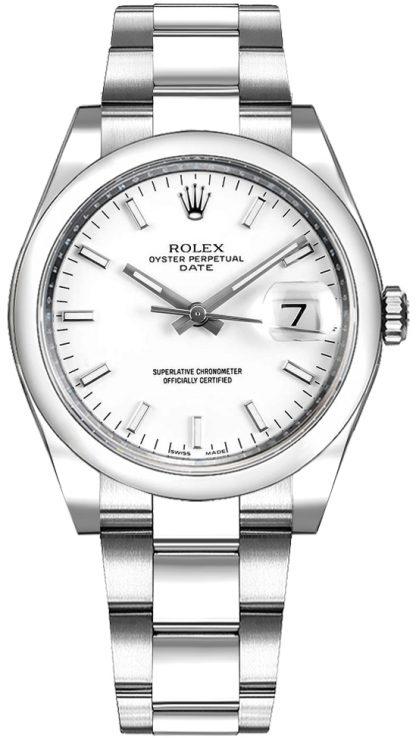 repliche Orologio di lusso Rolex Oyster Perpetual Date 34 quadrante bianco di lusso 115200