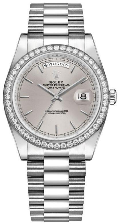 repliche Orologio di lusso da donna Rolex Day-Date 36 oro bianco 18 carati 128349RBR