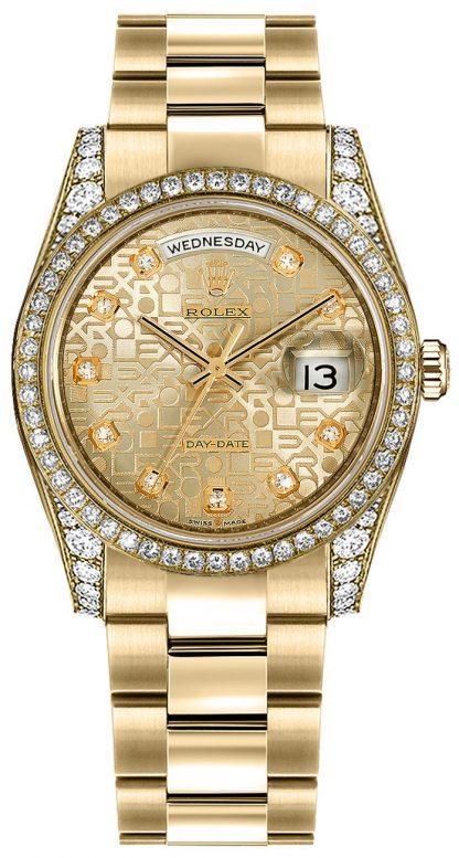 repliche Orologio svizzero Rolex Day-Date 36 con diamanti in oro 118388