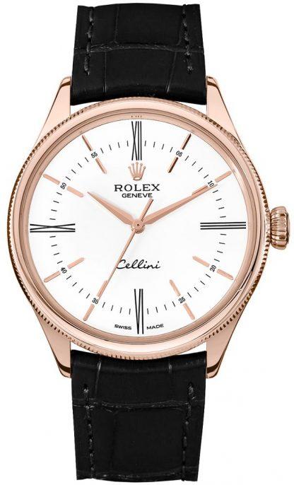 repliche Rolex Cellini Time Quadrante bianco 39mm Orologio da uomo di lusso 50505