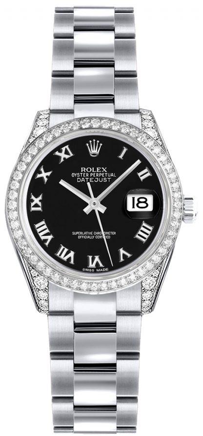 repliche Rolex Lady-Datejust 26 Orologio in oro nero con quadrante numerico romano 179159