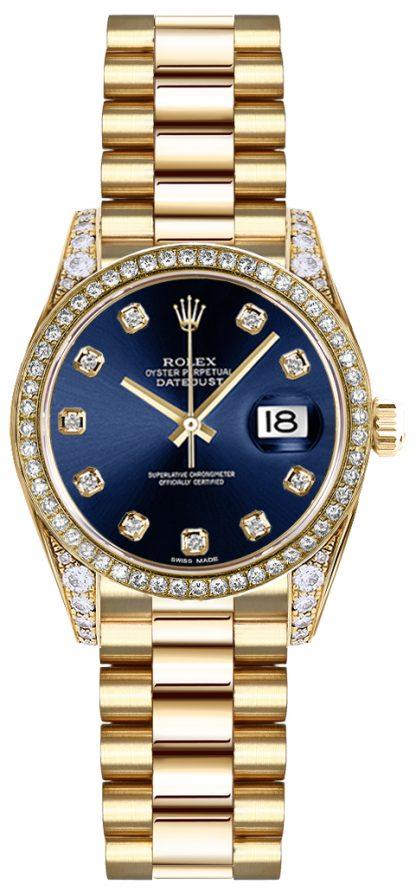 repliche Rolex Lady-Datejust 26 quadrante in oro blu con quadrante in oro 179158