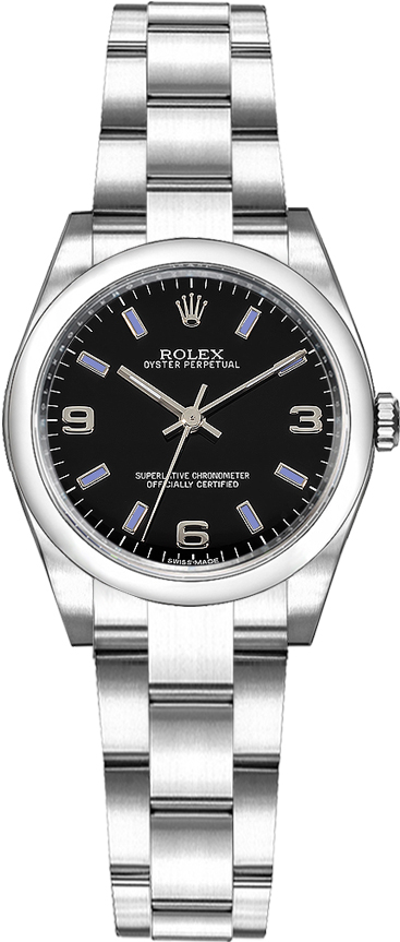 repliche Rolex Oyster Perpetual 26 Oyster Bracciale quadrante nero Orologio 176200